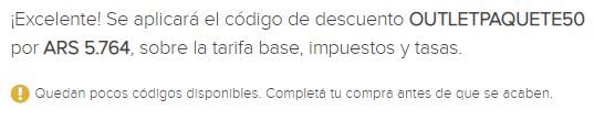 50 40 o 30 off en paquetes dentro de Argentina